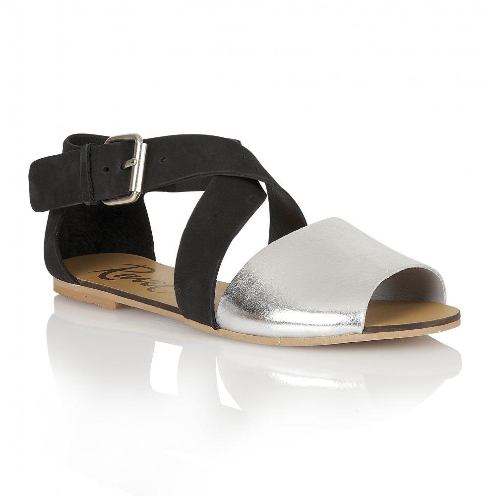 ddcafe5dbbfdb7 Buy Ravel ladies Dallas flat sandals online in black silver leather