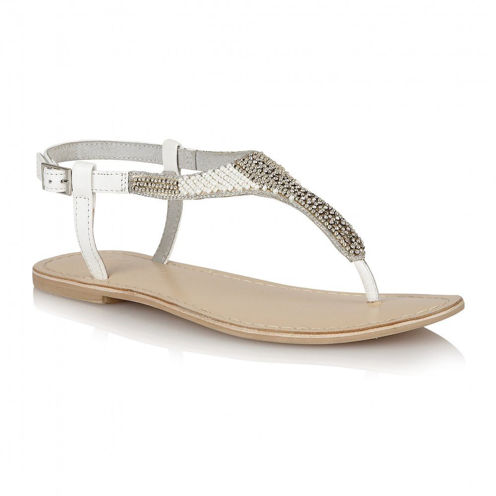 089440dbe4a5 Buy Ravel ladies Huntsville flat sandals online in white leather