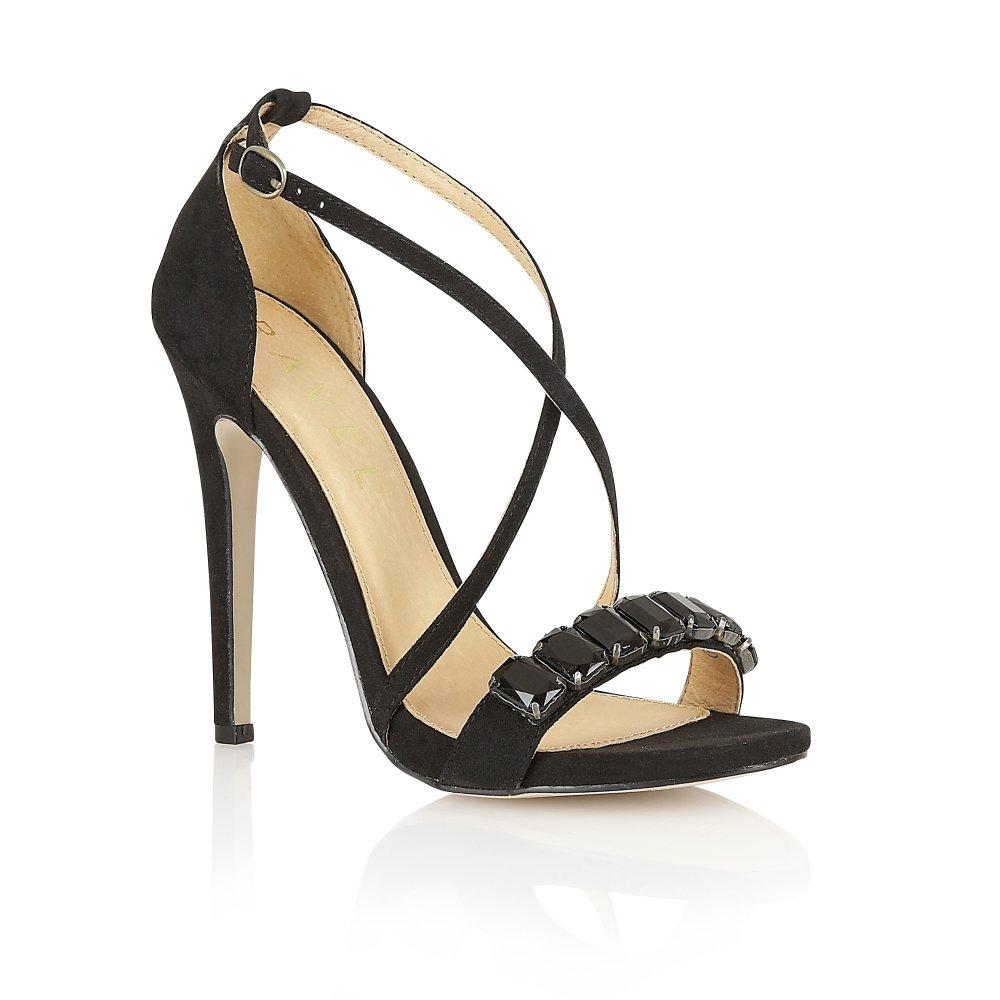 Black sandals online - Ravel Houston Jewel Embellished Heeled Sandals Black