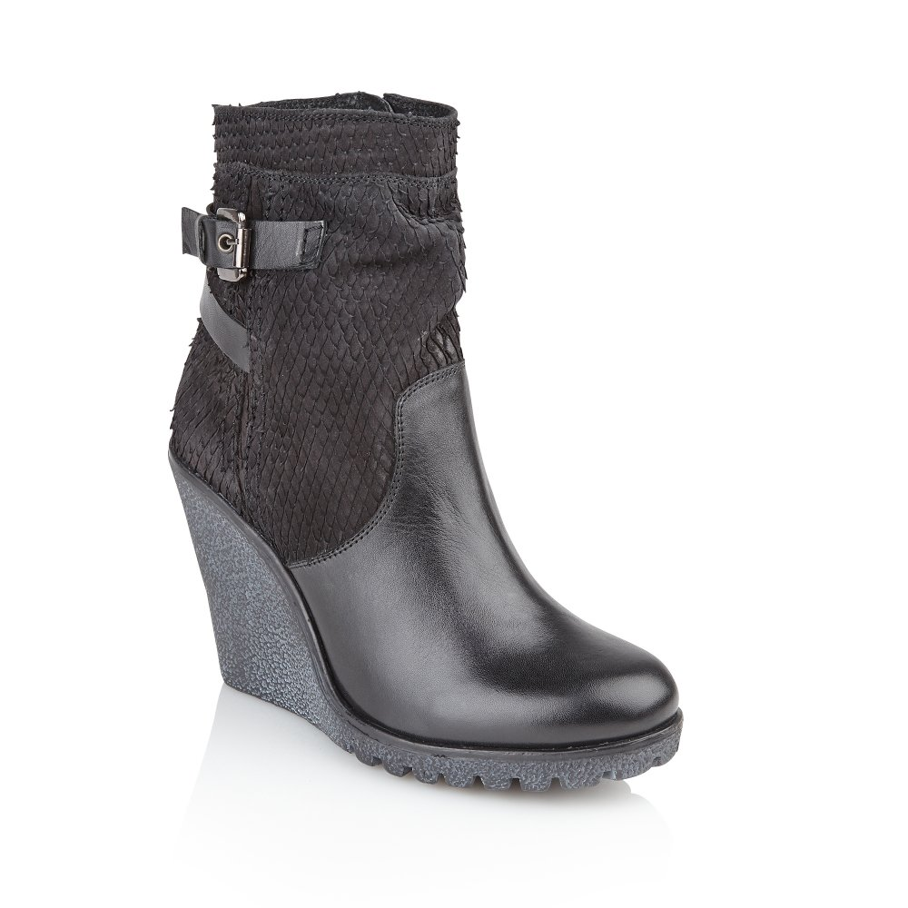 Ladies Black Wedge Ankle Boots | Fashion Boots