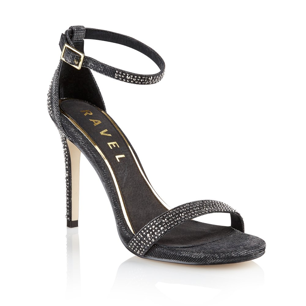 Black sandals evening - Ravel Kansas City Evening Sandals Black Glitter Stud Detailing