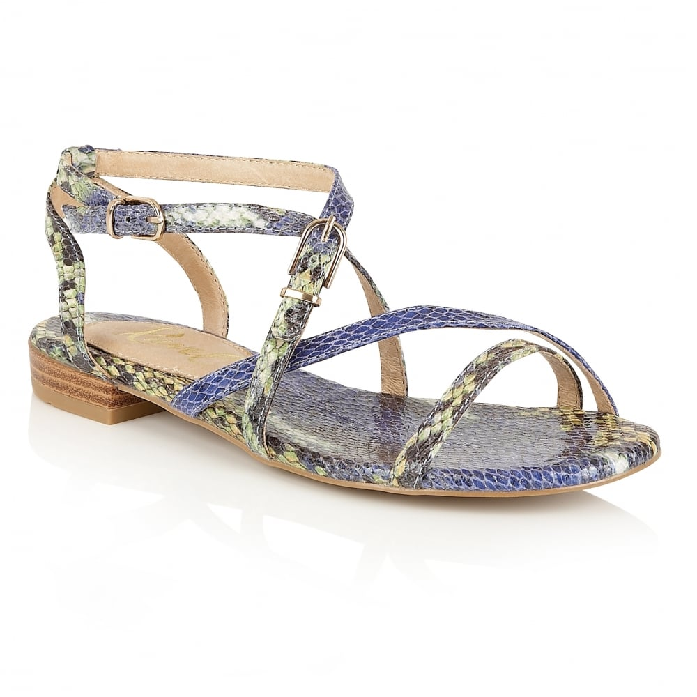 a3d6064d3170 Buy Ravel ladies  Saratoga flat sandals online in blue snake print
