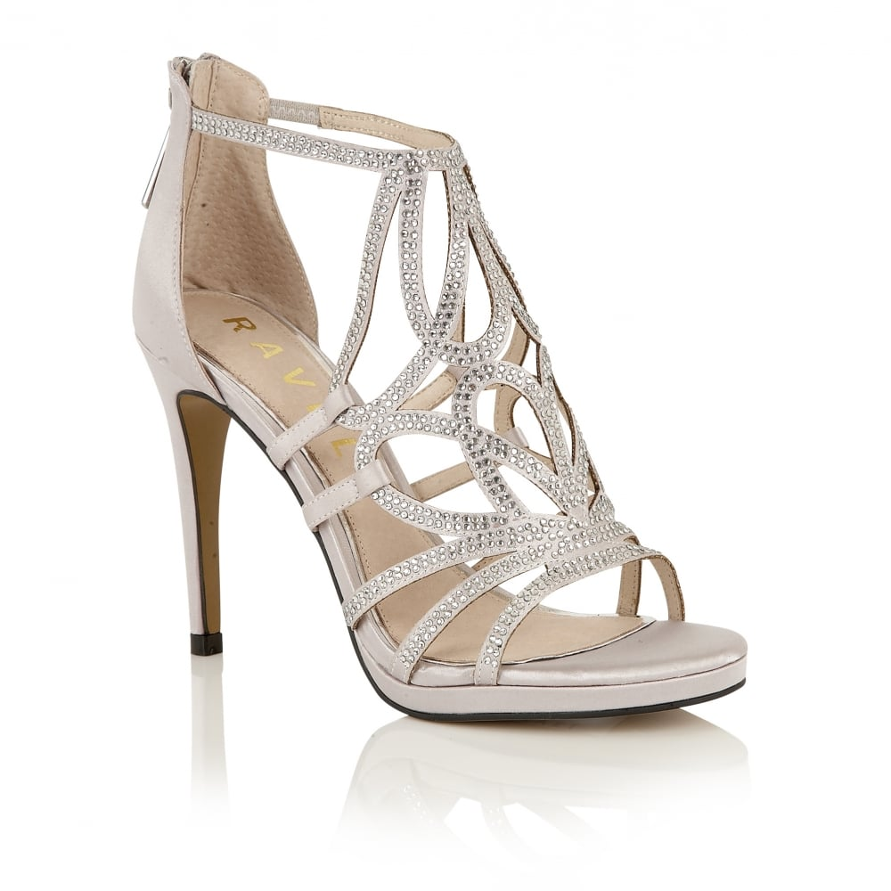 buy ravel ladies blanco heeled sandals online in silver satin