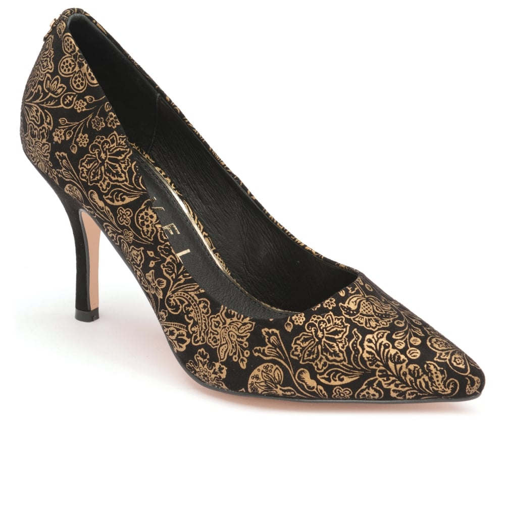 Black/Gold Scala Pointed Toe Court Shoes | V&A Ravel