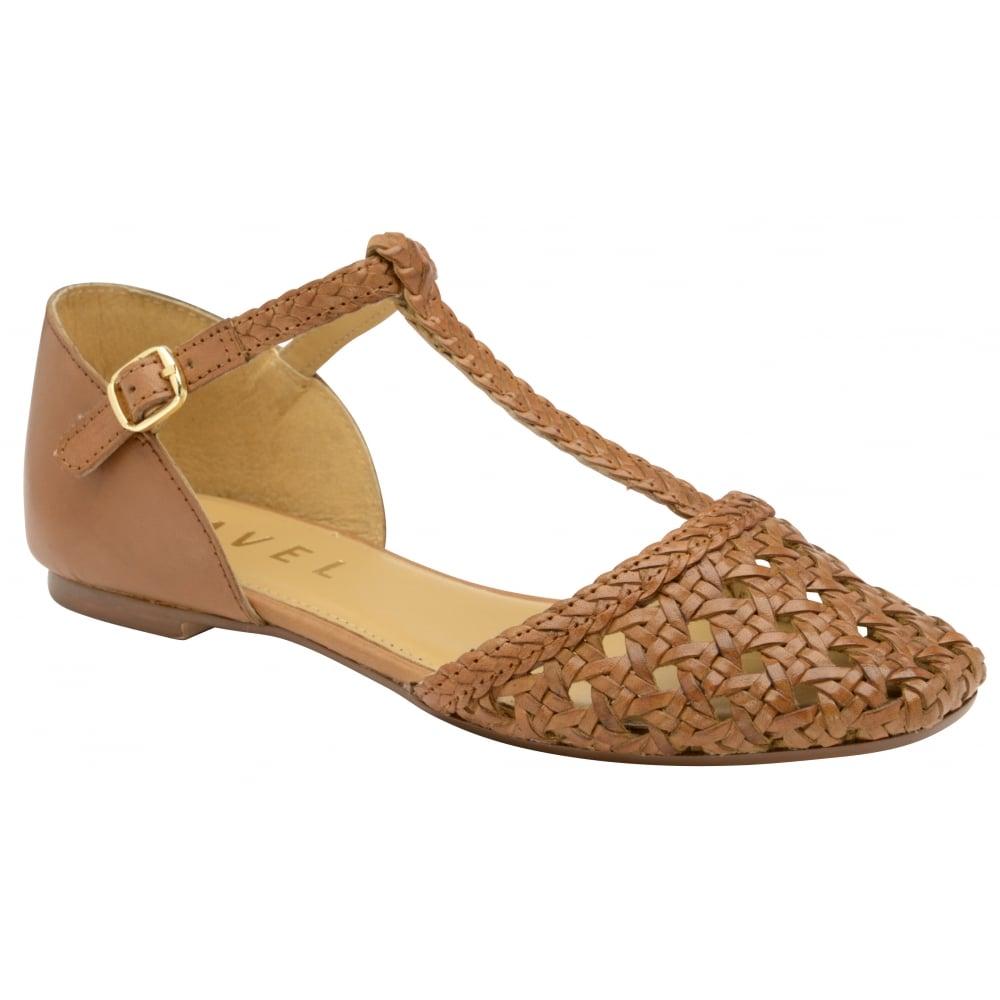Ravel Tan ladies t bar caged sandals 63023RLS551LT