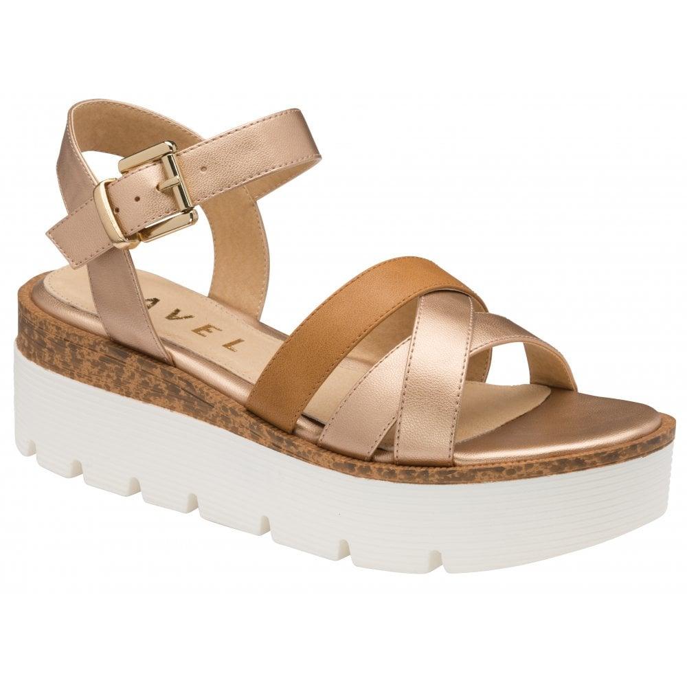 Monto Flatform sandals in rose gold/tan