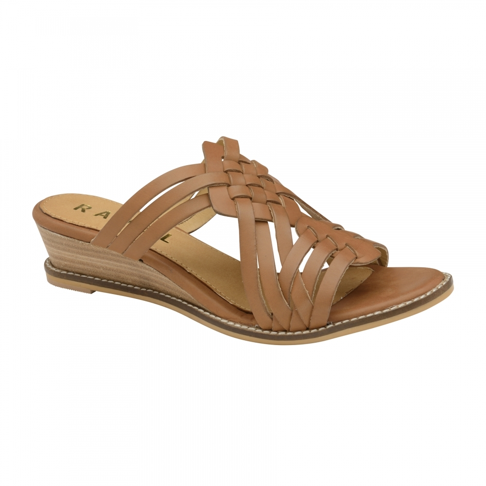 Silver Ravel Marion Leather Mule Wedge Sandals for Women